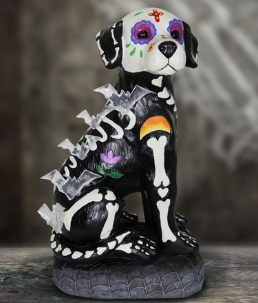 Halloween Skeleton Dog w/LED Bats & Timer - Click to enlarge