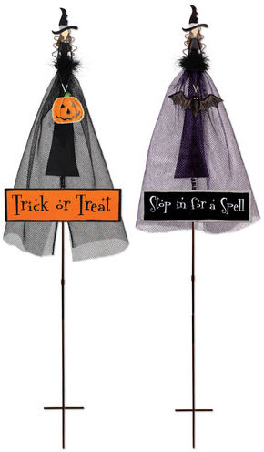 Halloween Witch Stakes / Signs (Set of 2) - Click to enlarge