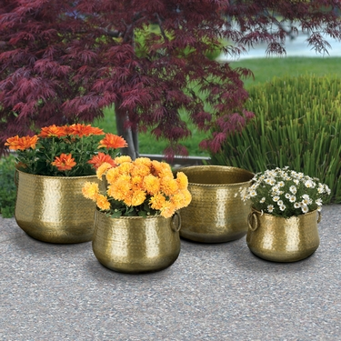 Hammered Brass Nesting Planters (Set of 4) - Click to enlarge