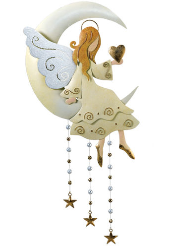 Hanging moon angel wall decor only at garden fun for Angel wall decoration