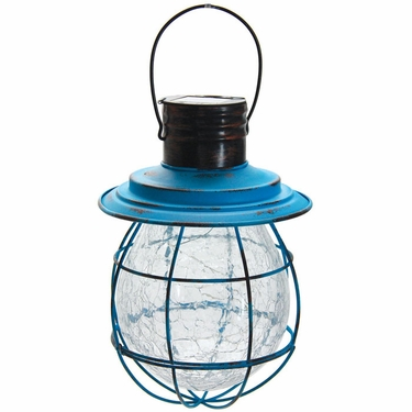 Hanging Solar Lantern with 6 LED String Light - Blue - Click to enlarge