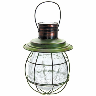 Hanging Solar Lantern with 6 LED String Light - Green - Click to enlarge
