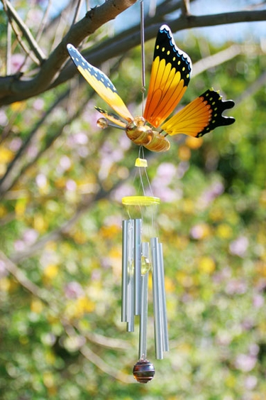 Hanging Yellow Butterfly Bouncer Chime - Click to enlarge