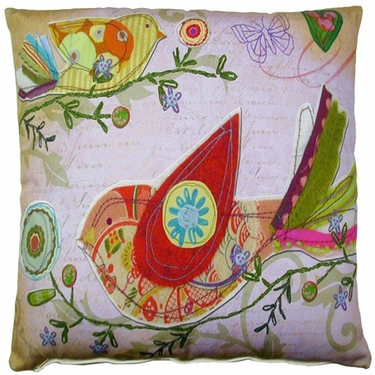 Heartstrings 3 Birds Outdoor Pillow - Click to enlarge
