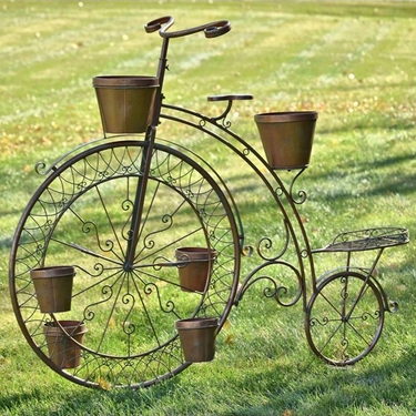 High Wheel Bicycle Planter - Antique Bronze - Click to enlarge