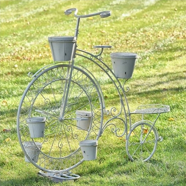 High Wheel Bicycle Planter - Antique White - Click to enlarge