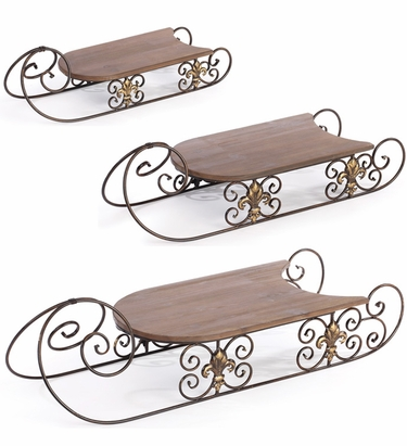 Holiday Antique Display Sleds (Set of 3) - Click to enlarge