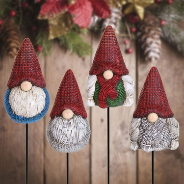 Holiday Gnome Plant Stakes (Set of 4) - Click to enlarge