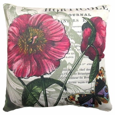 Horticole w/Butterfly Outdoor Pillow - Click to enlarge