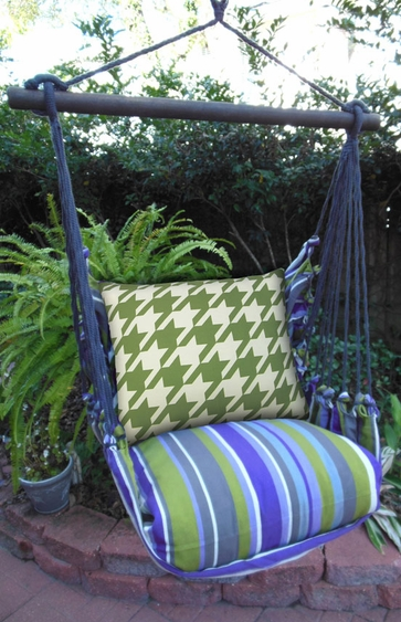 Houndstooth Green Hammock Chair Swing Set - Click to enlarge