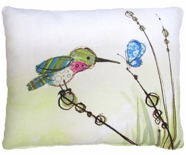 Hummer w/Butterfly Outdoor Pillow - Click to enlarge