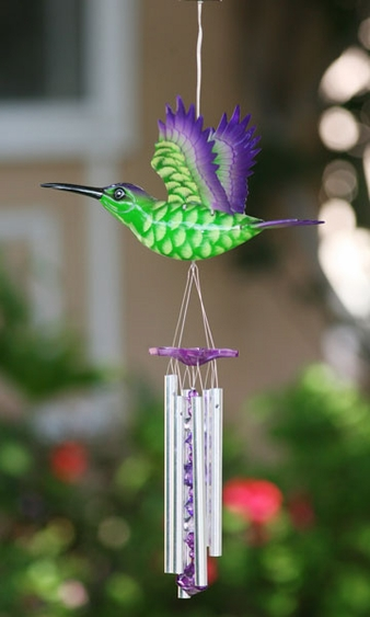 Hummingbird LED Light Wind Chime - Click to enlarge