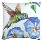 Hummingbird w/Morning Glory 1 Outdoor Pillow