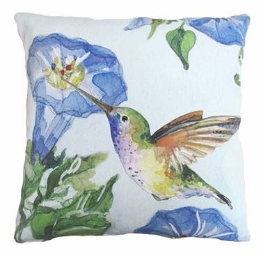 Hummingbird w/Morning Glory 2 Outdoor Pillow - Click to enlarge