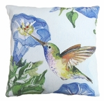 Hummingbird w/Morning Glory 2 Outdoor Pillow