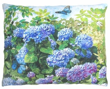 Hydrangeas & Butterfly Outdoor Pillow - Click to enlarge