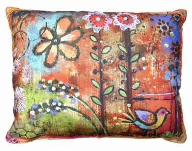 Impressions of Nature: Bird & Daisy Outdoor Pillow - Click to enlarge