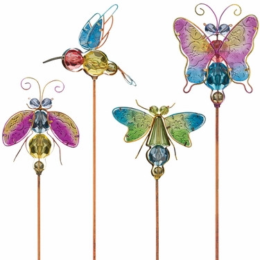 Jeweled Bug Garden Stakes (Set of 4) - Click to enlarge