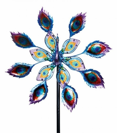 Kinetic Peacock w/Spinning Glass Tail - Click to enlarge