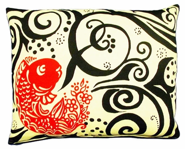 Koi  Fish Black/Red Outdoor Pillow - Click to enlarge