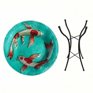 Koi Fish Glass Birdbath w/Stand - Click to enlarge