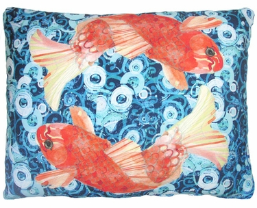 Koi Fish Swimming Outdoor Pillow - Click to enlarge
