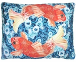 Koi Fish Swimming Outdoor Pillow