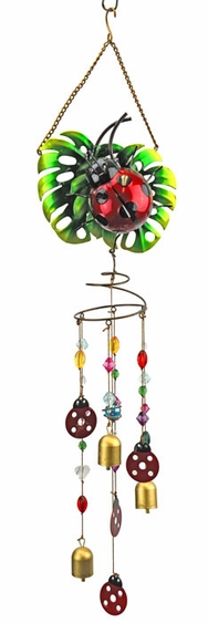 Ladybug Wind Chime w/Jewels - Click to enlarge