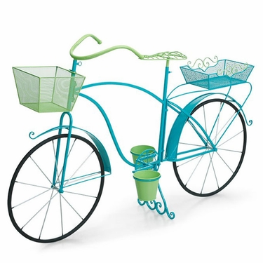 Large Bicycle Planter - Blue/Green - Click to enlarge