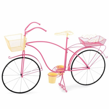 Large Bicycle Planter - Pink/Yellow - Click to enlarge