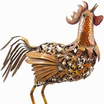 "27"" Large Bronze Rooster Statue"