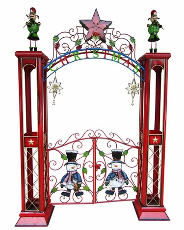 Large Christmas Gate w/Arch & LED Star - Click to enlarge