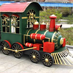 Large Christmas Iron Train w/Cart