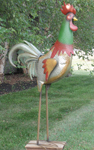 "70"" Giant Iron Garden Rooster - Green"