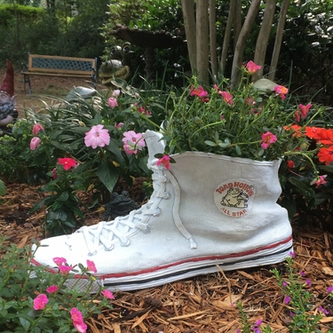 Large High Top Sneaker Planter - White - Click to enlarge