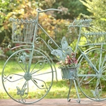 Large Iron Bicycle Planter Stand w/Butterflies - Antique Moss