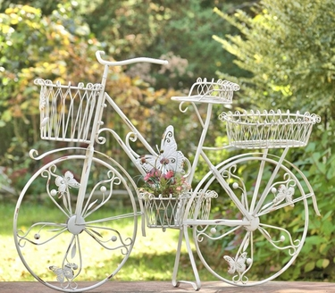 Large Iron Bicycle Planter Stand w/Butterflies - Antique White - Click to enlarge
