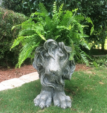 Large Lion Planter - Graystone Finish - Click to enlarge