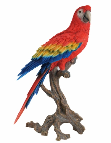 Large Macaw Statue - Scarlet