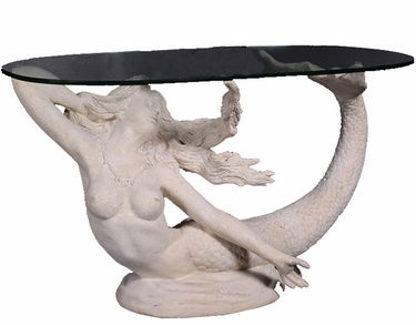 Large Mermaid Table w/Glass - Roman Stone - Click to enlarge