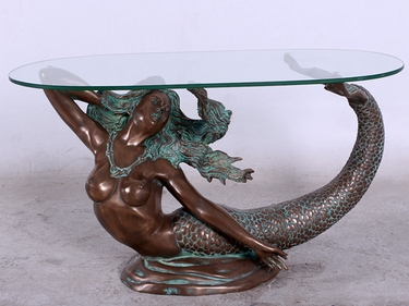 large mermaid table w/glass in verde bronze