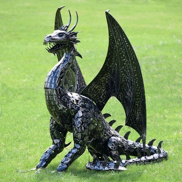 Large Metal Dragon Statue Decor - Click to enlarge