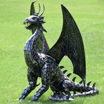 Large Metal Dragon Statue Decor
