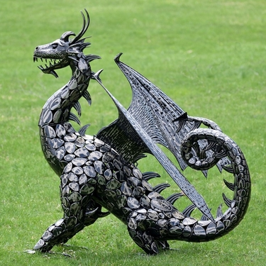 Large Metal Dragon Statue w/ Open Wings - Click to enlarge