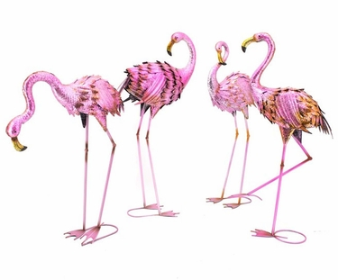 Large Metal Flamingo Birds (Set of 4) - Click to enlarge