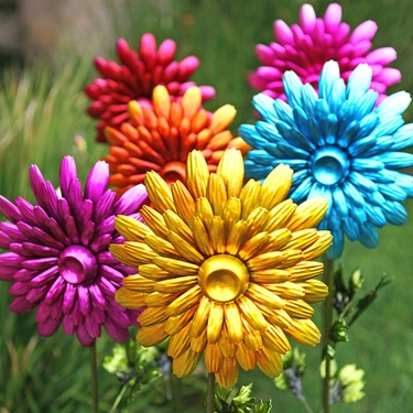Charmant Large Metal Flower Garden Stakes (Set Of 5)