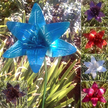 Large Metal Flower Lilies (Set of 6)  - Click to enlarge