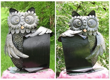 Large Metal Owls w/Scrolls (Set of 2) - Click to enlarge