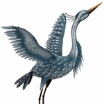 Large Metallic Heron - Wings Up