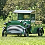 """Large Old Style """"Stockton"""" Green Truck w/Moving Wheels"""